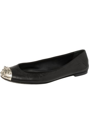 Giuseppe Zanotti Black Leather Malika Spiked Cap Toe Ballet Flats Size 38.5