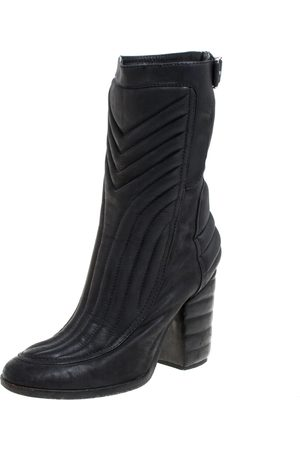 LAURENCE DACADE Black Leather Buckle Detail Zipper Ankle Boots Size 37.5