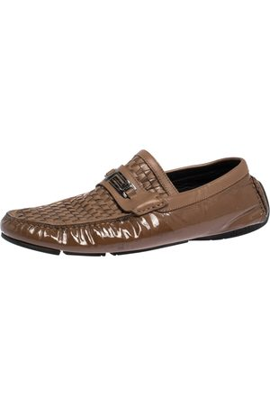 VERSACE Brown Woven Leather Slip On Loafers Size 41