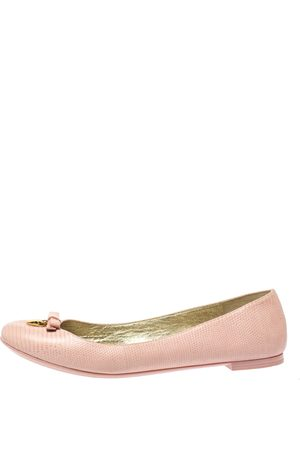 Dolce & Gabbana Dolce and Gabbana Pink Lizard Embossed Leather Bow Detail Ballet Flats Size 40