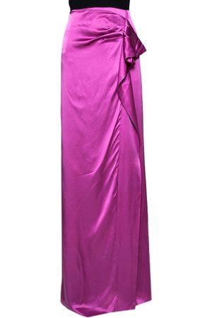 VALENTINO Fuchsia Silk Draped Maxi Skirt L