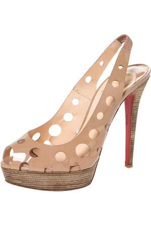 Christian Louboutin Beige Patent Leather Ginza Platform Slingback Sandals Size 39
