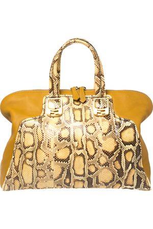 Fendi Women Purses - Yellow Honey Python and Leather Large Chameleon Satchel