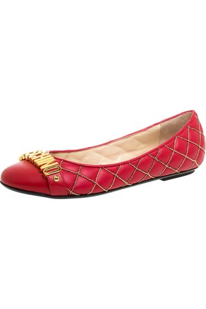 Moschino Red Quilted Chain Leather Logo Ballet Flats Size 38