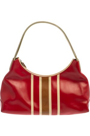 Tod's Red/Beige Stripe Leather Colorblock Zip Hobo