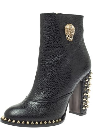 Philipp Plein Black Leather Skull Embellished/Studded Ankle Boots Size 39