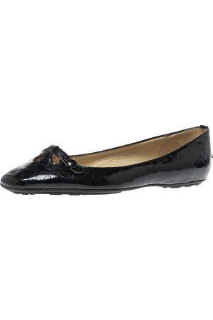 Jimmy Choo Black Python Print Patent Leather Laser Cut Ballet Flats Size 36.5
