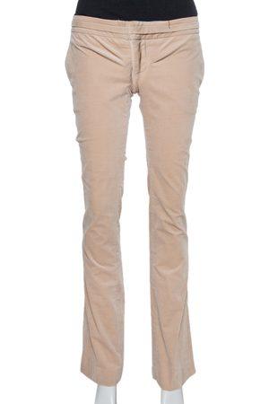 Gucci Beige Velvet Bootcut Trousers S