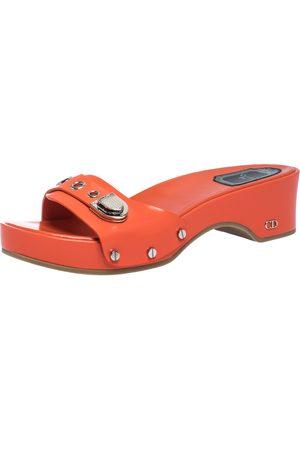 Dior Neon Orange Leather Buckle Detail Platform Slide Sandals Size 37.5