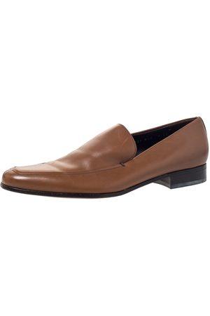 Salvatore Ferragamo Tan Leather Slip On Loafers Size 43