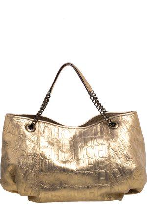 CH Carolina Herrera Carolina Herrera Gold Monogram Embossed Leather Chain Handle Tote