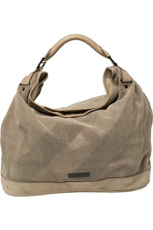 Burberry Beige Perforated Suede and Leather Oversized Hobo