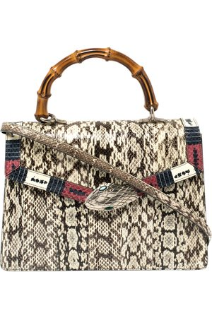 Gucci Beige Snakeskin Small Lilith Bamboo Top Handle Bag
