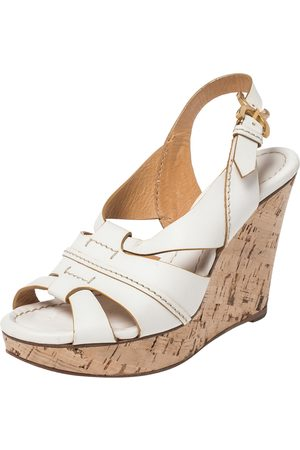 Chloé White Leather Cork Wedge Platform Slingback Sandals Size 36.5