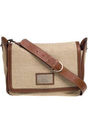ALVIERO MARTINI 1A CLASSE Brown/Beige Rafia and Leather Messenger Bag
