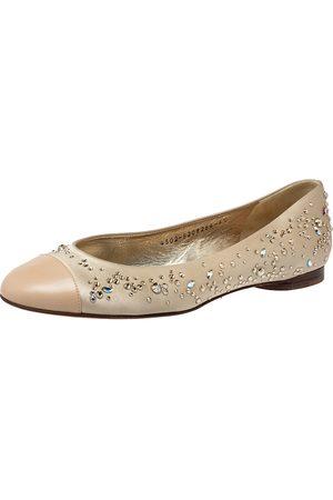 Gina Beige Satin And Leather Crystal Embellished Ballet Flats Size 39.5