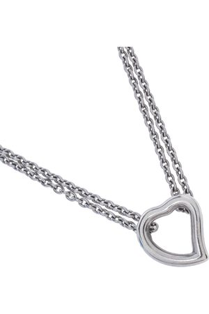 Saint Laurent Heart Motif Silver Double Strand Necklace