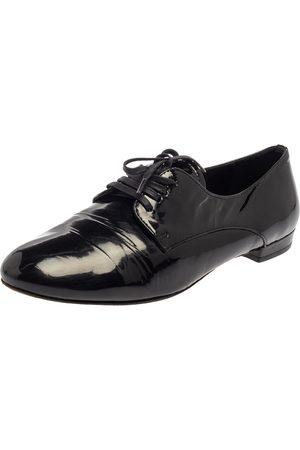Miu Miu Black Patent Leather Flat Lace Up Derby Size 35.5