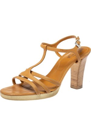 Tod's Tan Leather Strappy Platform Sandals Size 40