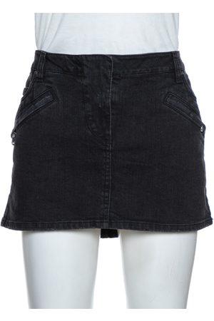 Balmain Dark Grey Washed Denim Mini Skirt M