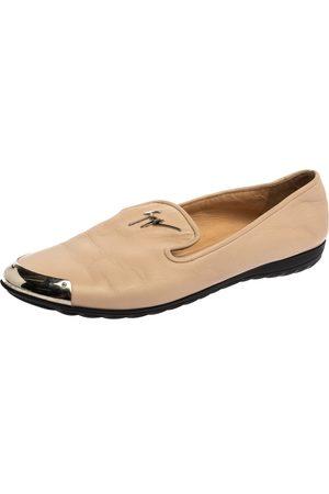 Giuseppe Zanotti Beige Leather Embellished Smoking Slippers Size 39