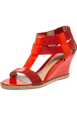 Fendi Red Patent Leather And Elastic Fabric T Strap Espadrille Wedge Sandals Size 37.5