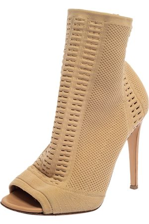 Gianvito Rossi Beige Knit Fabric Vires Peep Toe Ankle Boots Size 38.5