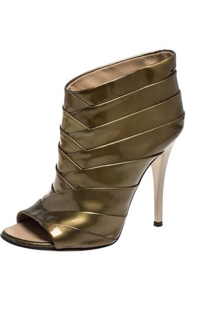 Giuseppe Zanotti Olive Green Patent Leather Ankle Boots Size 36