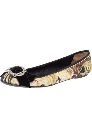 DandG D&G Multicolor Velvet Crystal Bow Embellished Ballet Flats Size 40