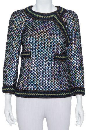 CHANEL Black Knit Sequin Embellished Jacket M