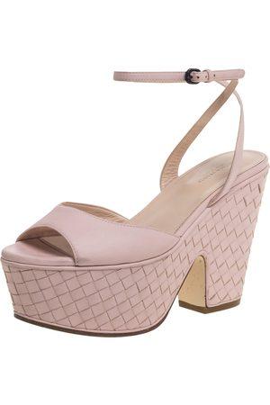 Bottega Veneta Pink Leather Platform Ankle Strap Sandals Size 36.5