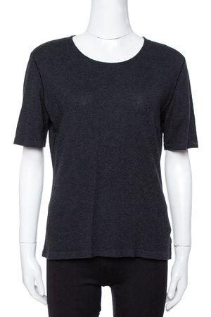 CHANEL Black Cashmere Knit Round Neck Top L