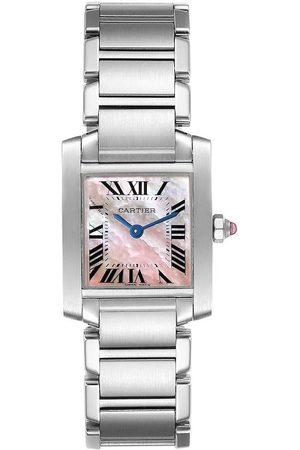 Cartier Pink MOP Stainless Steel Tank Francaise W51028Q3 Quartz Women's Wristwatch 20 MM