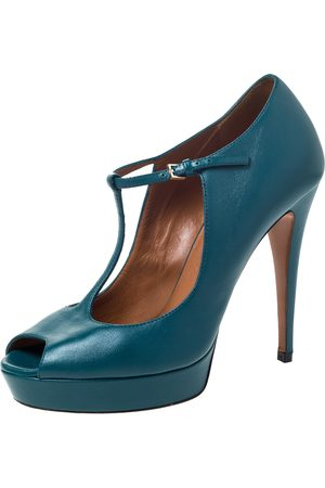 Gucci Teal Green Leather T-Strap Platform Peep Toe Ankle Strap Sandals Size 38