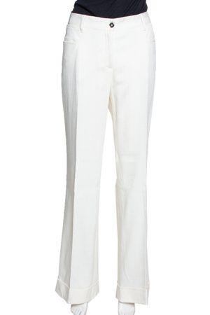 Dolce & Gabbana Ivory Cuffed Hem Flared Trousers L