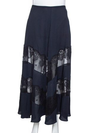 Stella McCartney Midnight Blue Silk & Lace Paneled Maxi Skirt S