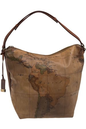 ALVIERO MARTINI 1A CLASSE Beige/Brown Coated Canvas And Leather Hobo