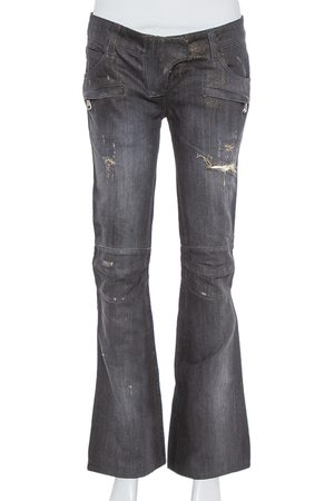 Balmain Black & Metallic Gold Denim Paneled Distressed Bootcut Jeans S