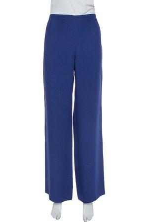 Armani Dark Blue Crepe Wide Leg Trousers M