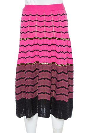 M Missoni Pink Zig Zag Knit Midi Skirt S