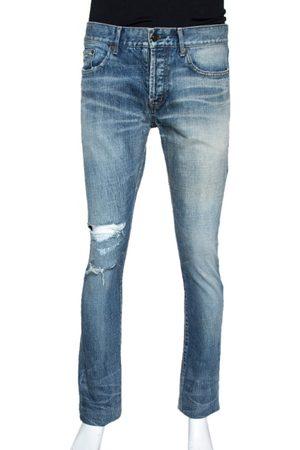 Saint Laurent Indigo Washed Denim Distressed Slim Fit Jeans S