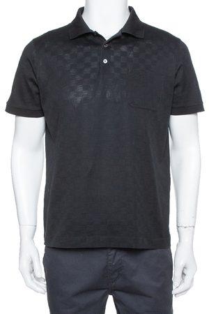 LOUIS VUITTON Louis Vuitto Black Cotton Damier Pique Polo T-Shirt L