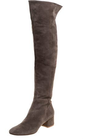 Gianvito Rossi Brown Suede Leather Over the Knee Boots Size 39.5
