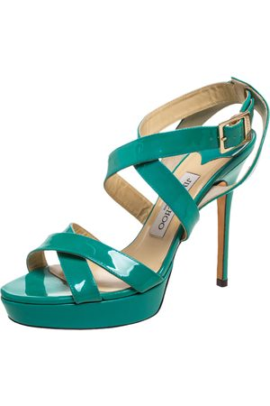 Jimmy Choo Green Patent Leather Vamp Platform Sandals Size 38.5