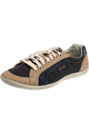 Prada Blue/Beige Suede And Nylon Low Top Sneakers Size 43
