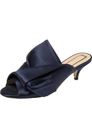 Nº21 Nº21 Navy Blue Satin Raso Knot Peep Toe Kitten Heel Mules Size 37