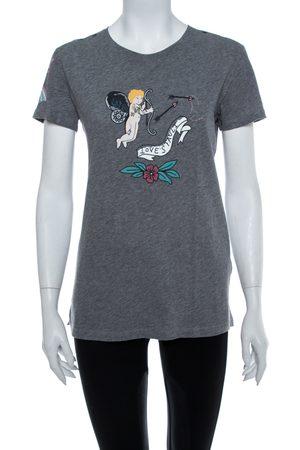 VALENTINO Grey Tattoo Printed Cotton Crewneck T Shirt S