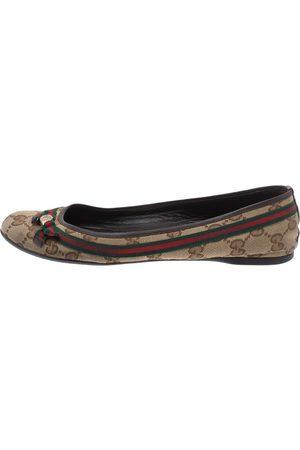Gucci Beige GG Canvas Mayfair Web Bow Detail Ballet Flats Size 36