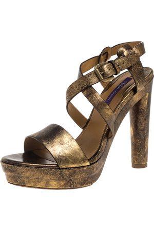 Ralph Lauren Two Tone Leather Estrid Platform Ankle Strap Sandals Size 39.5