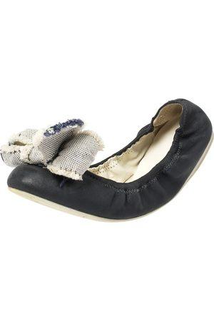 Prada Blue Leather Bow Logo Scrunch Ballet Flats Size 38.5